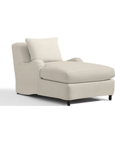 Carlisle Slipcovered Chaise, Polyester Wrapped Cushions, Textured Basketweave Flax