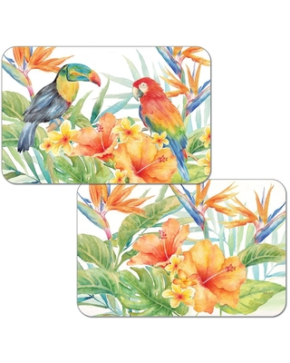 Reversible Wipe-clean Counterart Placemats Set of 4 - Tropical Birds (Set of 4)