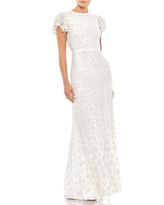 Mac Duggal Floral Sequin Cap Sleeve Mesh Gown, Size 12 in White at Nordstrom
