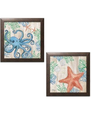 """Highland Dunes 'Clearwater Sealife I and II' 2 Piece Graphic Art Print Set BF127810 Size: 12"""" H x 12"""" W x 0.75"""" D Format: Brown Framed"""