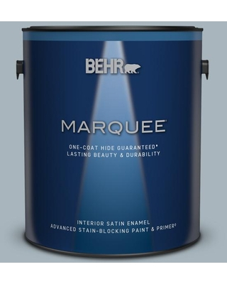 BEHR MARQUEE 1 gal. #MQ5-23 Intercoastal Gray One-Coat Hide Satin Enamel Interior Paint and Primer in One