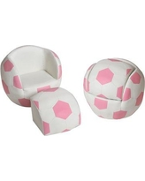 Zoomie Kids Gennep Soccer Ball Kids Faux Leather Club Chair and Ottoman ZMIE5952