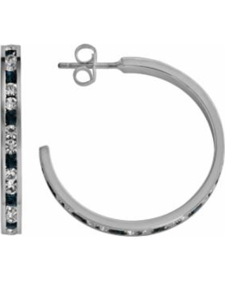Traditions Sterling Silver Blue and White Swarovski Crystal Hoop Earrings, Women's