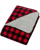 Buffalo Check Flannel and Sherpa Baby Blanket - Red/black
