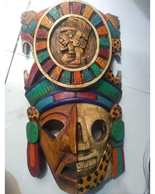 """Archaeological mask, large, decorative wood,""""Mayan warrior"""" unique piece unique sculpture, worked by hand in wood."""