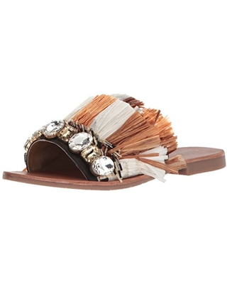 Kenneth Cole New York Women's Heron Slide Sandal with Fringe and Jewels beige/multi, 6 M US