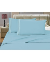 1500 Series 4-Piece Aqua Triple Marrow Embroidered Pillowcases Microfiber Full Size Blue Bed Sheet Set