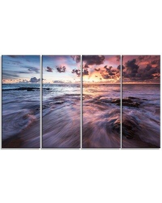 Design Art 'Waves Hitting Rocky Beach' 4 Piece Photographic Print on Wrapped Canvas Set PT13055-271