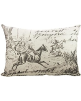 TheWatsonShop Horse Race Cotton Lumbar Pillow LUM_DFVB&WPCARD