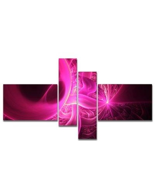 East Urban Home 'Bright Pink Designs on Black' Graphic Art Print Multi-Piece Image on Canvas EUHG9858