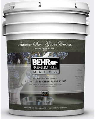 BEHR Premium Plus Ultra 5 gal. #bwc-12 Vibrant White Semi-Gloss Enamel Interior Paint and Primer in One