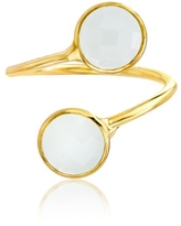 Willowbird Mother of Peal Yellow Gold Plated Bypass Ring for Women