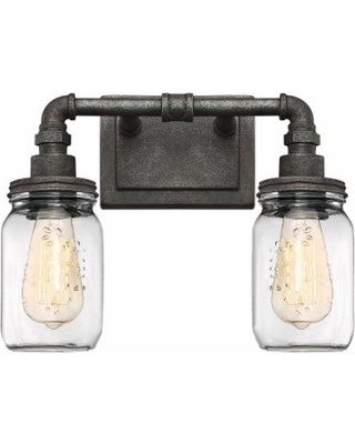 """Quoizel Squire 11"""" High Rustic Black 2-Light Wall Sconce"""