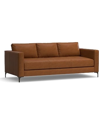 """Jake Leather Sofa 85"""", Down Blend Wrapped Cushions, Leather Signature Maple"""