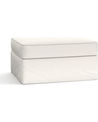 Pearce Slipcovered Storage Ottoman, Polyester Wrapped Cushions, Performance everydaylinen(TM) Ivory
