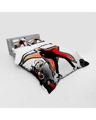 Rock Music Duvet Cover Set East Urban Home Size: Queen Duvet Cover + 3 Additional Pieces