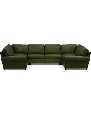 Turner Roll Arm Leather 5-Piece U-Shaped Sectional, Down Blend Wrapped Cushions, Legacy Forest Green