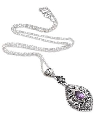 Artisan Crafted Amethyst Sterling Silver Pendant Necklace