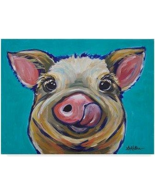 "Winston Porter 'Pig Cesar Tongue Out' Acrylic Painting Print on Wrapped Canvas W000057540 Size: 35"" H x 47"" W x 2"" D"