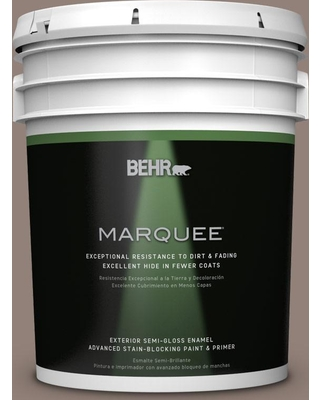 BEHR MARQUEE 5 gal. #BNC-22 Chocolate Chiffon Semi-Gloss Enamel Exterior Paint and Primer in One