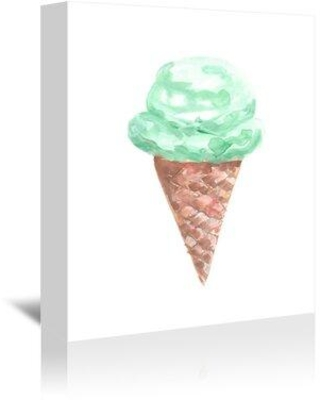 """East Urban Home 'Mint Ice Cream Cone' Watercolor Painting Print ETUH1432 Format: Canvas Size: 48"""" H x 32"""" W"""