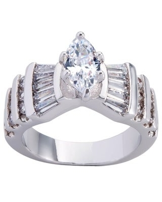 Marquise-cut CZ Bridal Engagement Ring By Simon Frank Designs (8 - Silver Overlay)