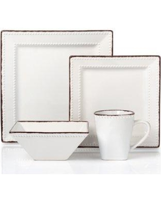 Lorren Home Trends Beaded Stoneware 16 Piece Dinnerware Set Service for 4 LH500 Color: White