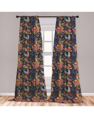 Ambesonne Asian Window Curtains, Cartoon Style Abstract Birds With Floral Arrangement Traditional Polka Dots Foliage, Lightweight Decorative Panels Se