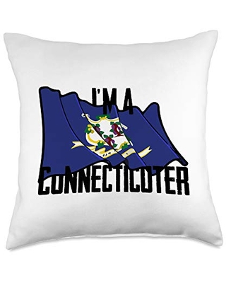 U.S. State Flag Nicknames Clothing U.S. State Flag of Connecticut Vintage Throw Pillow, 18x18, Multicolor
