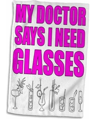 East Urban Home Amaryllis My Doctor Says I Need Glasses Hand Towel W000095913 Color: Pink
