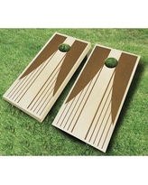 AJJCornhole Swooping Stripes 10 Piece Cornhole Set 109 - Swooping Stripes Ebony - red Bean Bag Color: Red/Yellow, Board Finish: Chestnut