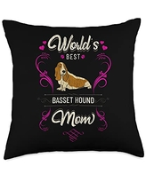 Rasocity World's Best Basset Hound Mom Dog Breed Owner Throw Pillow, 18x18, Multicolor