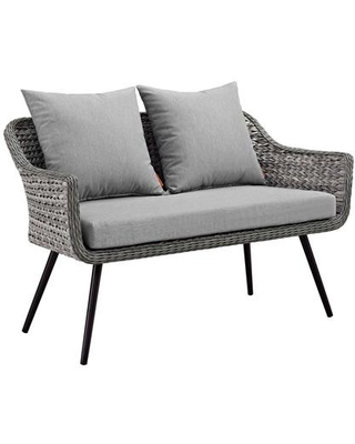 Endeavor Collection EEI-3024-GRY-GRY Outdoor Patio Wicker Rattan Loveseat in Grey Grey