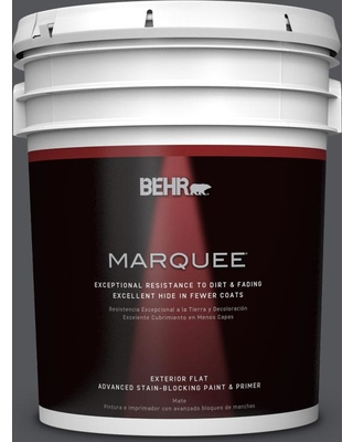 BEHR MARQUEE 5 gal. #N510-6 Orion Gray Flat Exterior Paint and Primer in One