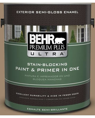 BEHR Premium Plus Ultra 1 gal. #700D-5 Toffee Crunch Semi-Gloss Enamel Exterior Paint and Primer in One