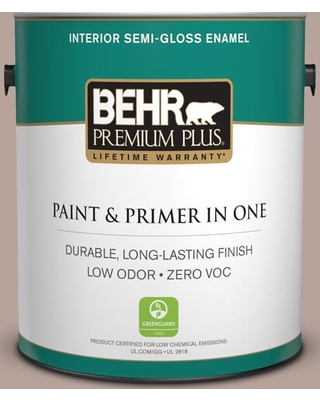 BEHR Premium Plus 1 gal. #N150-3 Cocoa Craving Semi-Gloss Enamel Low Odor Interior Paint and Primer in One