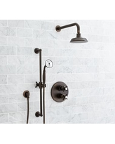 Reyes Thermostatic Cross-Handle Hand-Held Shower Faucet Set, Antique Bronze Finish