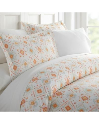 Aztec Dream Patterned Twin Duvet Cover Set in Coral