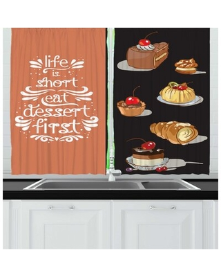 2 Piece Hand Drawn Doodle of Various Delicious Dessert Inspired and Words Kitchen Curtain Set East Urban Home