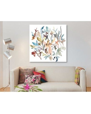 """East Urban Home 'Forest Flowers I' Watercolor Painting Print on Wrapped Canvas ESUH8026 Size: 26"""" H x 26"""" W x 1.5"""" D"""
