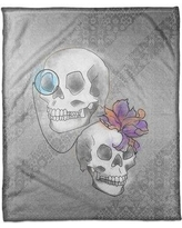 "The Holiday Aisle Monocle and A Flower Hair Skull Fleece Throw THDA6550 Size: 60"" W x 80"" L"
