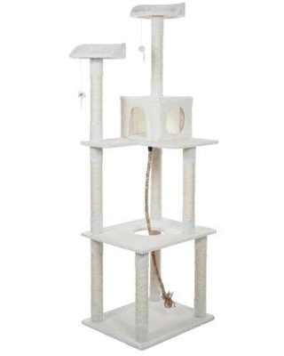 """Tucker Murphy™ Pet Casey 72"""" Sleep & Play Cat Tree, Sisal Rope/Carpet in White, Size Mid-Size (between 3 and 6 ft)   Wayfair"""