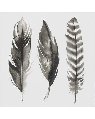 """East Urban Home 'Watercolor Feathers I' Watercolor Painting Print on Wrapped Canvas W000782050 Size: 14"""" H x 14"""" W x 2"""" D"""