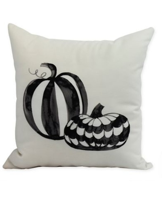 E by Design Witches Brew Pumpkin Duo Square Throw Pillow in Cream