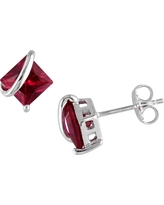 2.3 CT. T.W. Square Simulated Ruby Stud Earrings in Sterling Silver - White