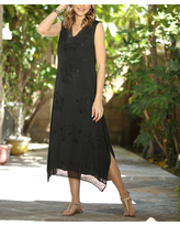 Ananda's Collection Women's Casual Dresses black - Black Embroidered Lace-Trim Sleeveless V-Neck Shift Dress - Women