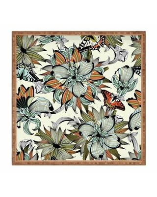 "East Urban Home Blooming Garden Serving Tray FINF8889 Size: 1.25"" H x 12"" W x 12"" D"