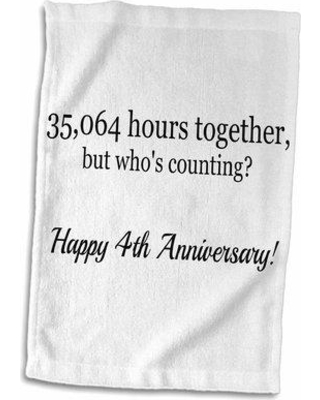 East Urban Home Lachlan Happy 4th Anniversary 35064 Hours Together Hand Towel W000549230