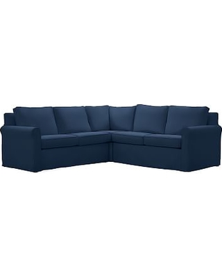 Cameron Roll Arm Slipcovered 3-Piece L-Shaped Corner Sectional, Polyester Wrapped Cushions, Performance Everydayvelvet(TM) Navy