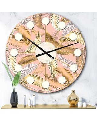 Oversized Tropical V Mid-Century Wall Clock East Urban Home Size: Large